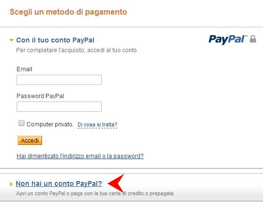 carta di credito senza account paypal
